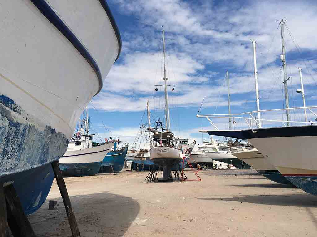 New kid on the block Our Imagine at Cabrales Boatyard among giant shrimp boats.